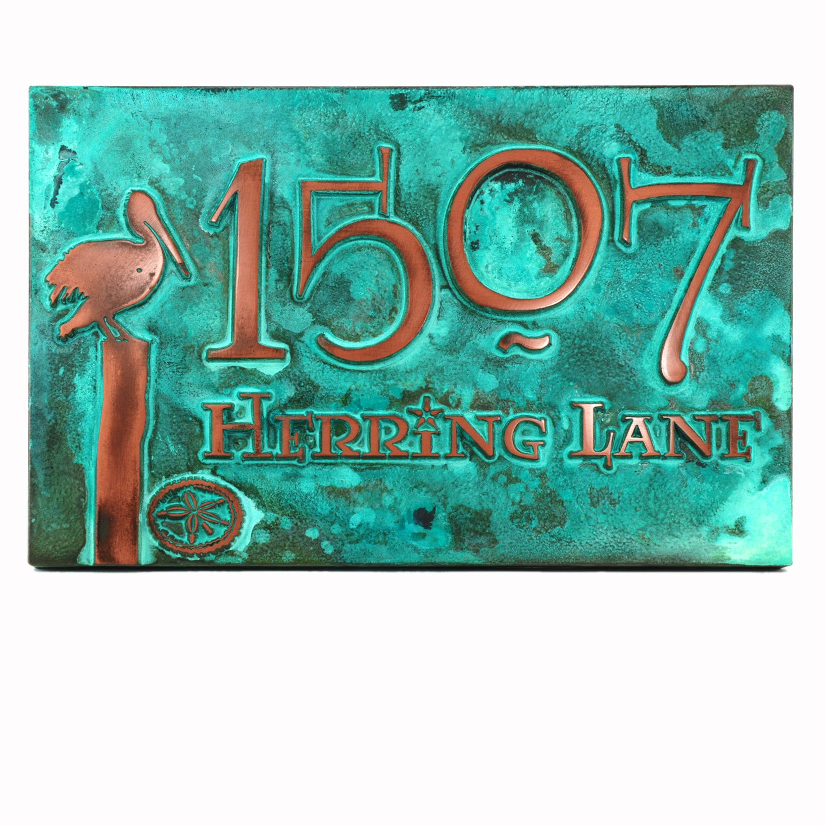 Perched Pelican Address Plaque 16x10.5 - Raised Copper Verdi Metal Coated Sign