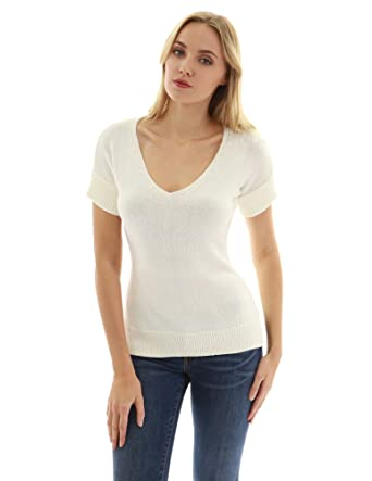 3d74de34ba5218 PattyBoutik Women's V Neck Short Sleeve Knit Top (Ivory M) at Amazon Women's  Clothing store: