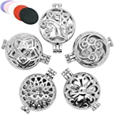 5pcs Mix Style 30mm Stainless Steel Tone Alloy Locket Essential Oil Aromatherapy Diffuser Pendant Charms Necklace