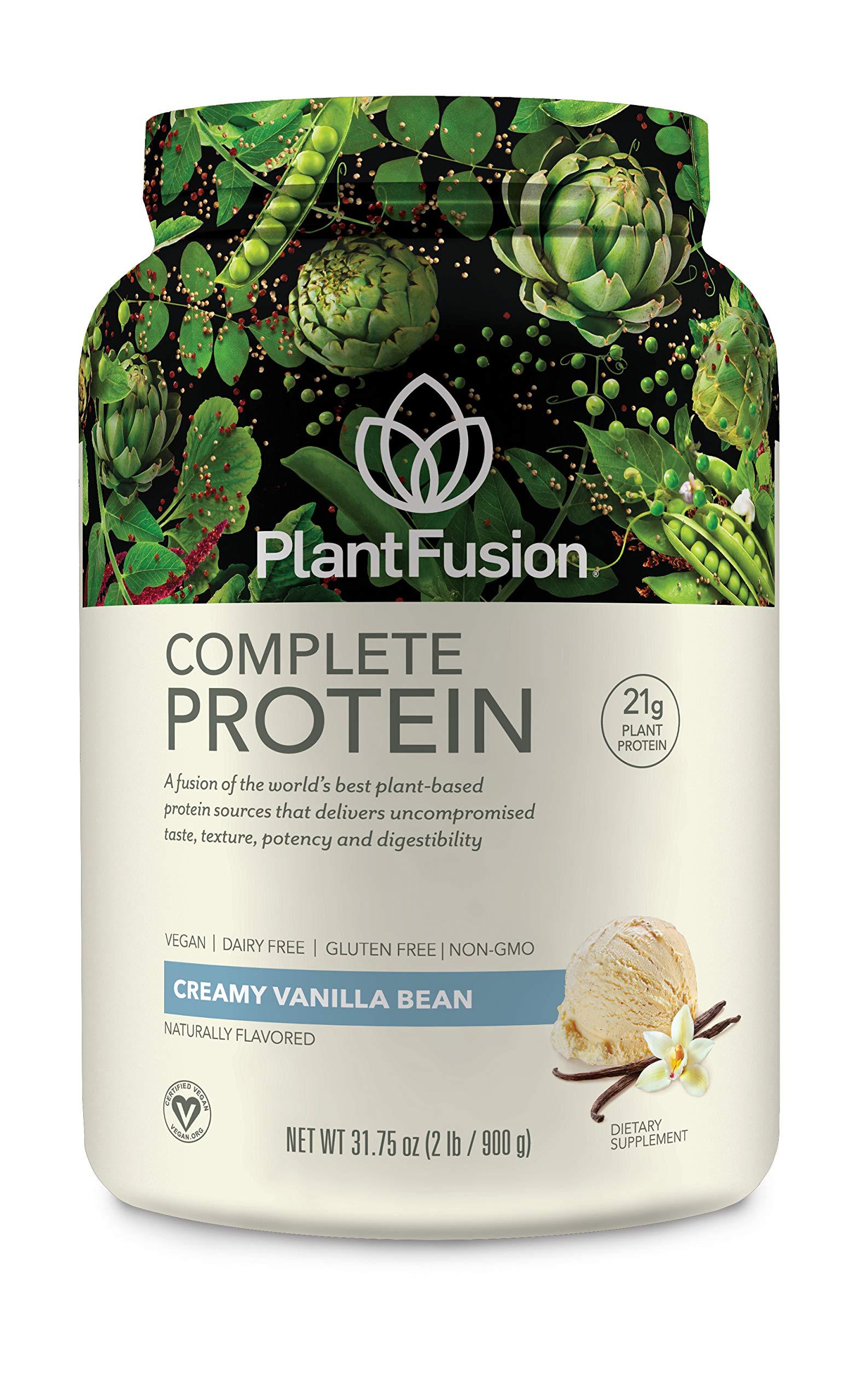 PlantFusion Complete Plant Based Protein Powder, Creamy Vanilla Bean, 2 Lb  Tub, 30