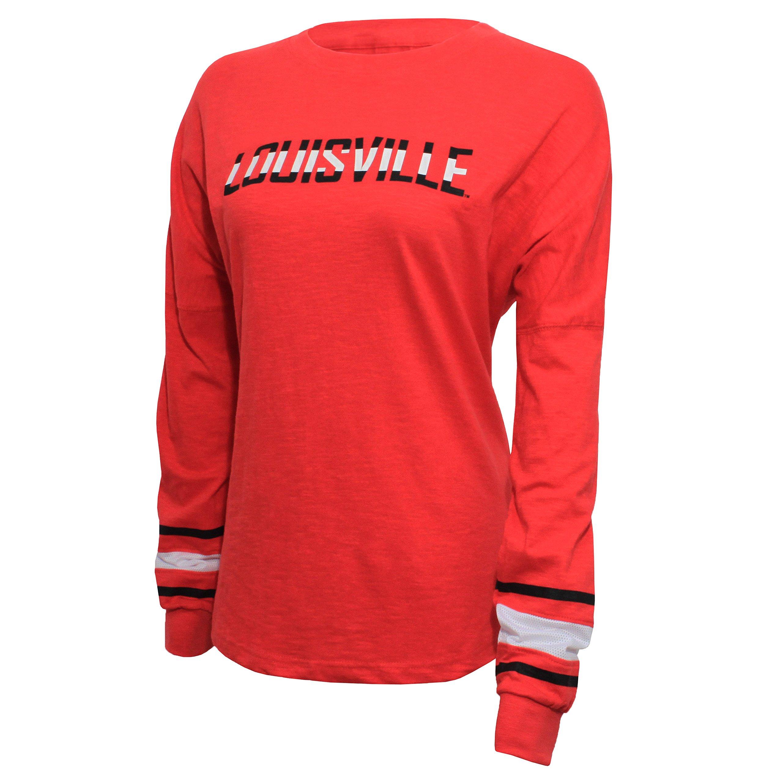 NCAA Louisville Cardinals Women's Campus Specialties Long Sleeve Fan Tee, Large, Red