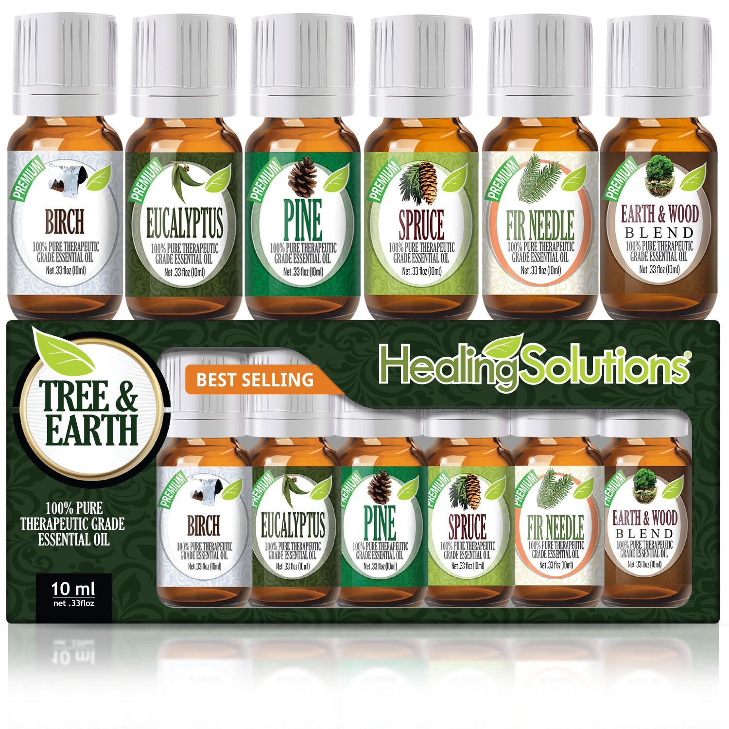 Top 6 Tree & Earth Essential Oils 100% Pure, Best Therapeutic Grade Aromatherapy Essential Oil Gift Set - 6/10 mL