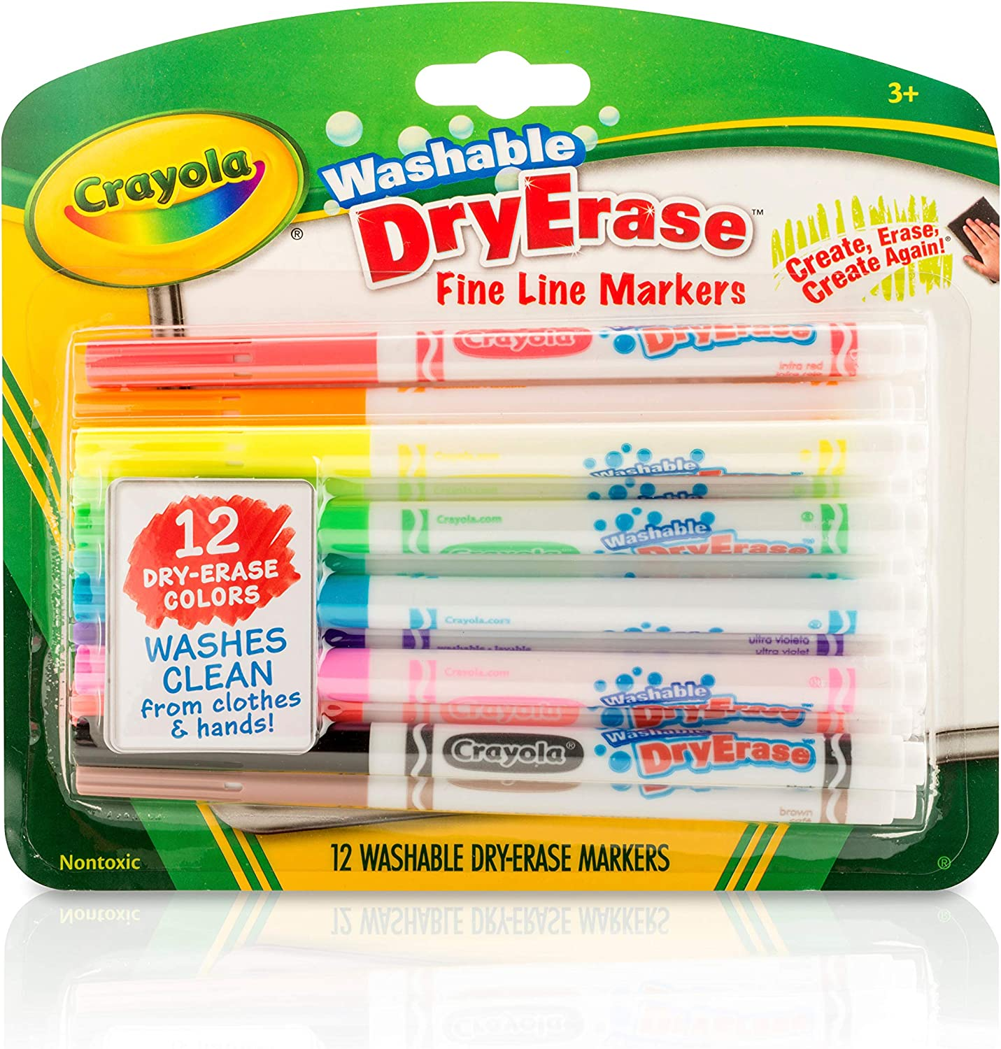 Crayola 98-5912 Washable Dry-Erase Fine Line Markers, 12 Classic Colors Non-Toxic Art Tools for Kids & Toddlers 3 & Up, Easy Clean Up, Won't Stain..