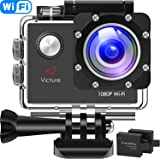 Victure Action Cam Full HD 1080P Wifi Waterproof Underwater Camera 2 LCD 170 Degree Ultra Wide Angle 30 m Waterproof helmet camera with 2 Batteries and Free Accessories