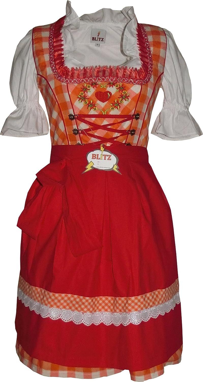 Blitz BT20 Dirndl 3 tlg. Trachtenkleid Kleid, Bluse, Schürze, ca. 90cm Größe: 34 bis 42 , Orange&Weiß&Rot