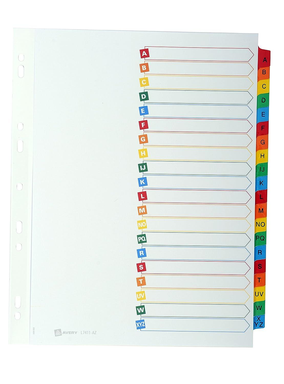 Avery L7411-12 Mylar Separadores para archivadores y libretas, diseño mensual con 12 pestañas, tamaño A4: Amazon.es: Oficina y papelería
