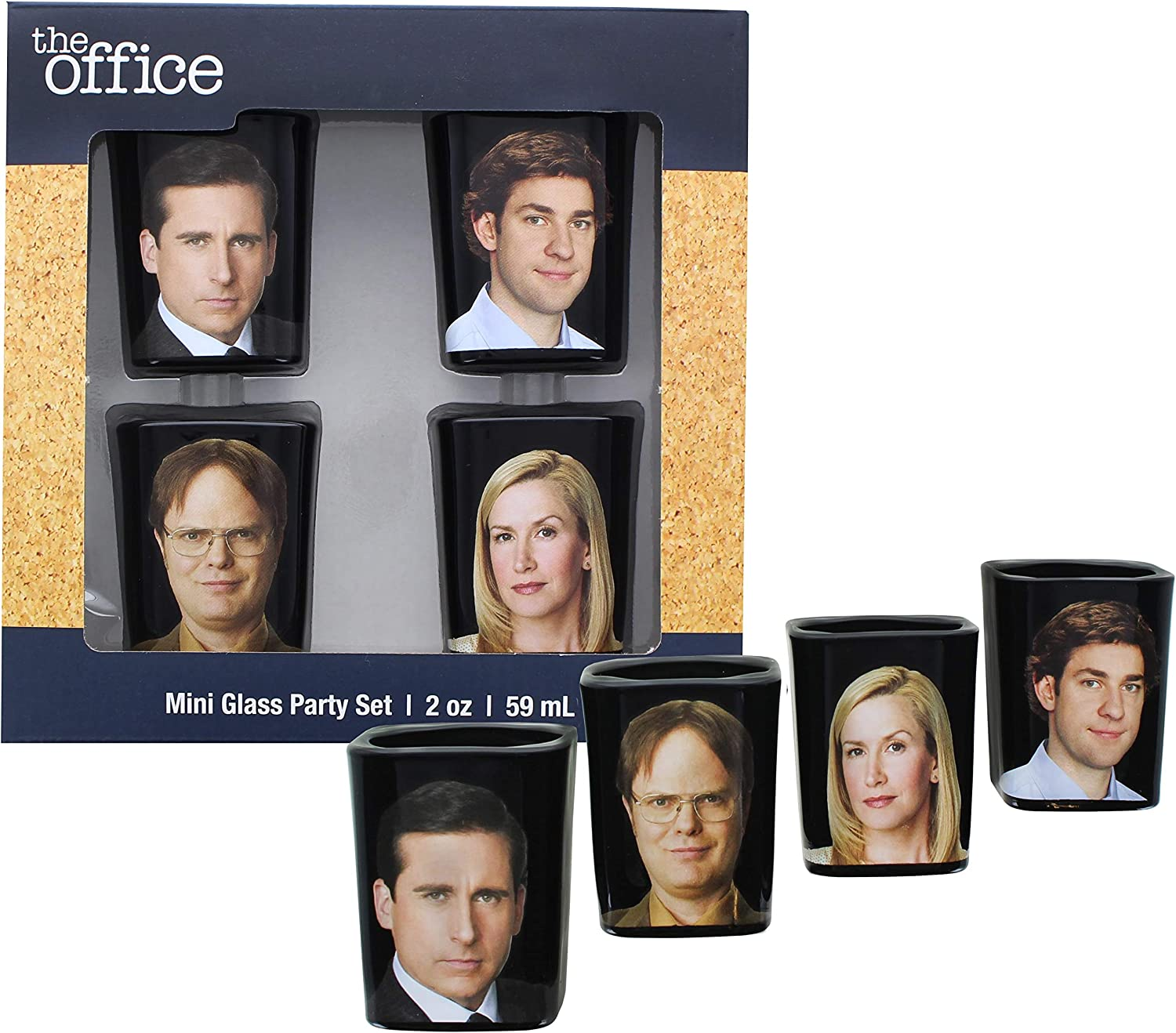 JUST FUNKY The Office Collectible Character Shot Glass Drinking Game | Features Michael, Jim, Dwight, & Angela | 2 Ounce Glasses | Set of 4