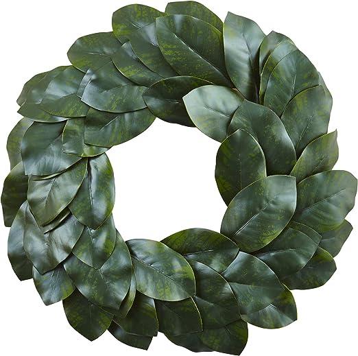 Amazon Com Nearly Natural Magnolia Leaf Wreath 24 Green Home Kitchen