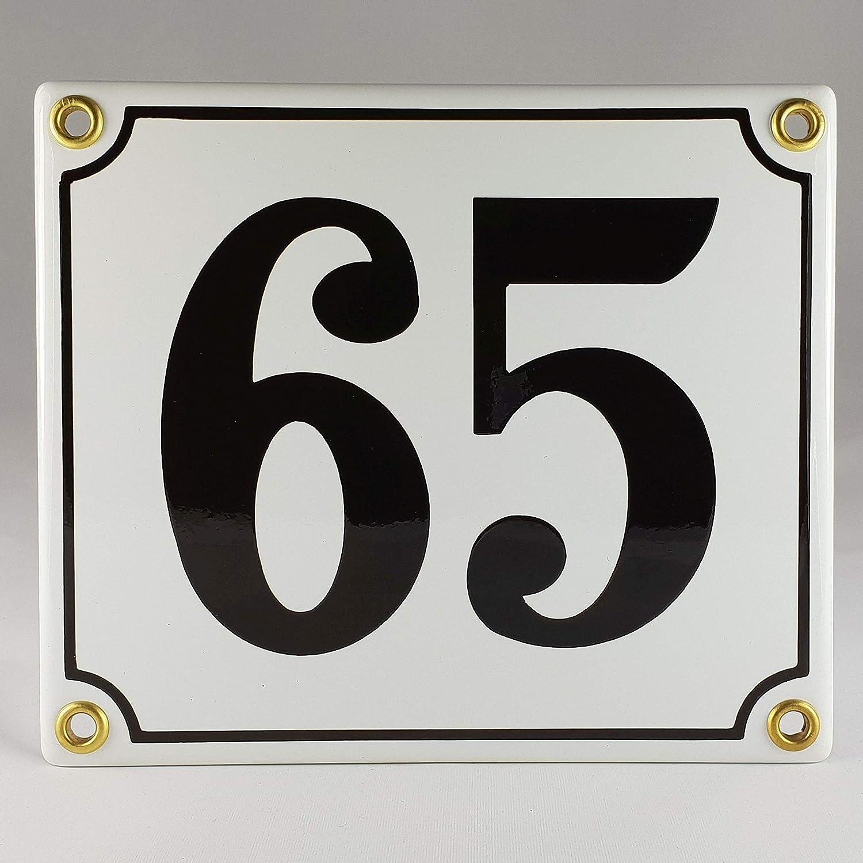 Emaille Schild Hausnummer 96 Schwarz-Wei/ßHandarbeit