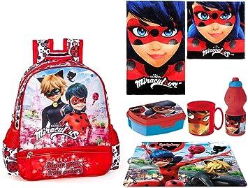 Ladybug Miracolous Set Zainetto Zaino Satinato,Asciugamano,Box Merenda Scuola
