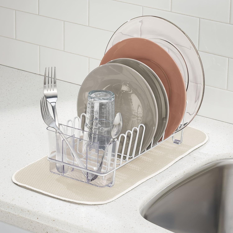 mDesign Escurridor de vajilla - Rejilla escurreplatos para la encimera o el fregadero - Bandeja escurreplatos con cubertero de 3 compartimentos de plástico ...