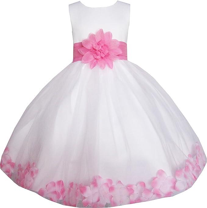Sunny Fashion Vestido para niña Blanco Rosa Flor Boda La Dama de Honor Navidad Fiesta niños