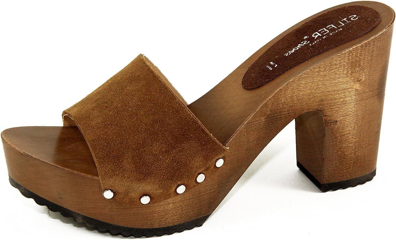Silfer Shoes Zoccolo in Vera Pelle di camoscio, Colore Cuoio Ideale Anche per Stare in casa