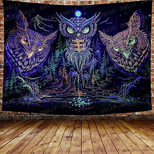 DBLLF Owls Dream Catcher Psychedelic Party Decor Tapestry Forest Mystical Boho Tapestry Psychedelic Colorful Owl Under Moonlight Wall Hanging for Living Room Bedroom Dorm 80X60 Inches DBZY1215