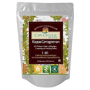 Kappa Carrageenan Powder | Food Grade Natural Thickener Substitute for Gelatin - Kosher ( 14 Oz)