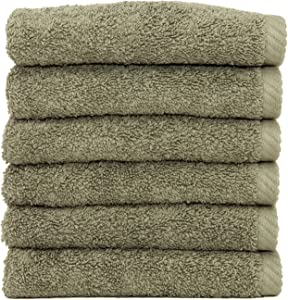 Linum Home Textiles Soft Twist Premium Authentic Soft 100% Turkish Cotton Luxury Hotel Collection Washcloth, Set of 6, Light Olive
