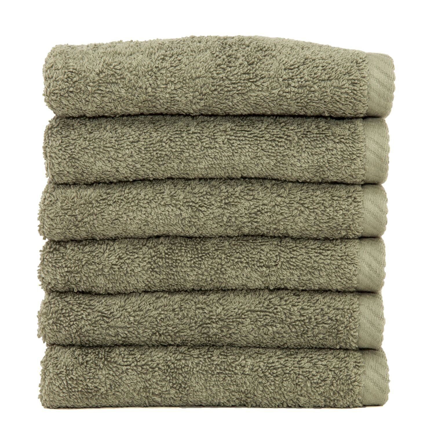 Linum Home Textiles Soft Twist Premium Authentic Soft 100% Turkish Cotton Luxury Hotel Collection Washcloth, Set of 6, Light Olive