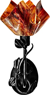 product image for Jezebel Signature BRSC-B-MA-FP12-BEG Flame Style Black Branch Sconce with Magnolia Leaves, Begonia