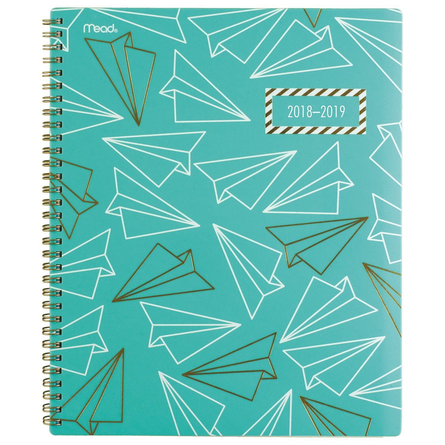 Mead 2018-2019 Academic Year Weekly & Monthly Planner, Large, 8-1/2 x 11, Gold & Bold, Airplane (CAW508D2)