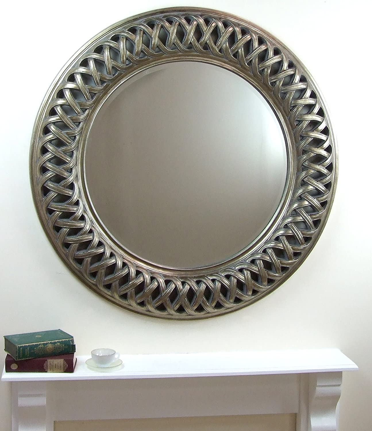 Large round mirror large round mirror cool ornate for Large white mirrors for sale
