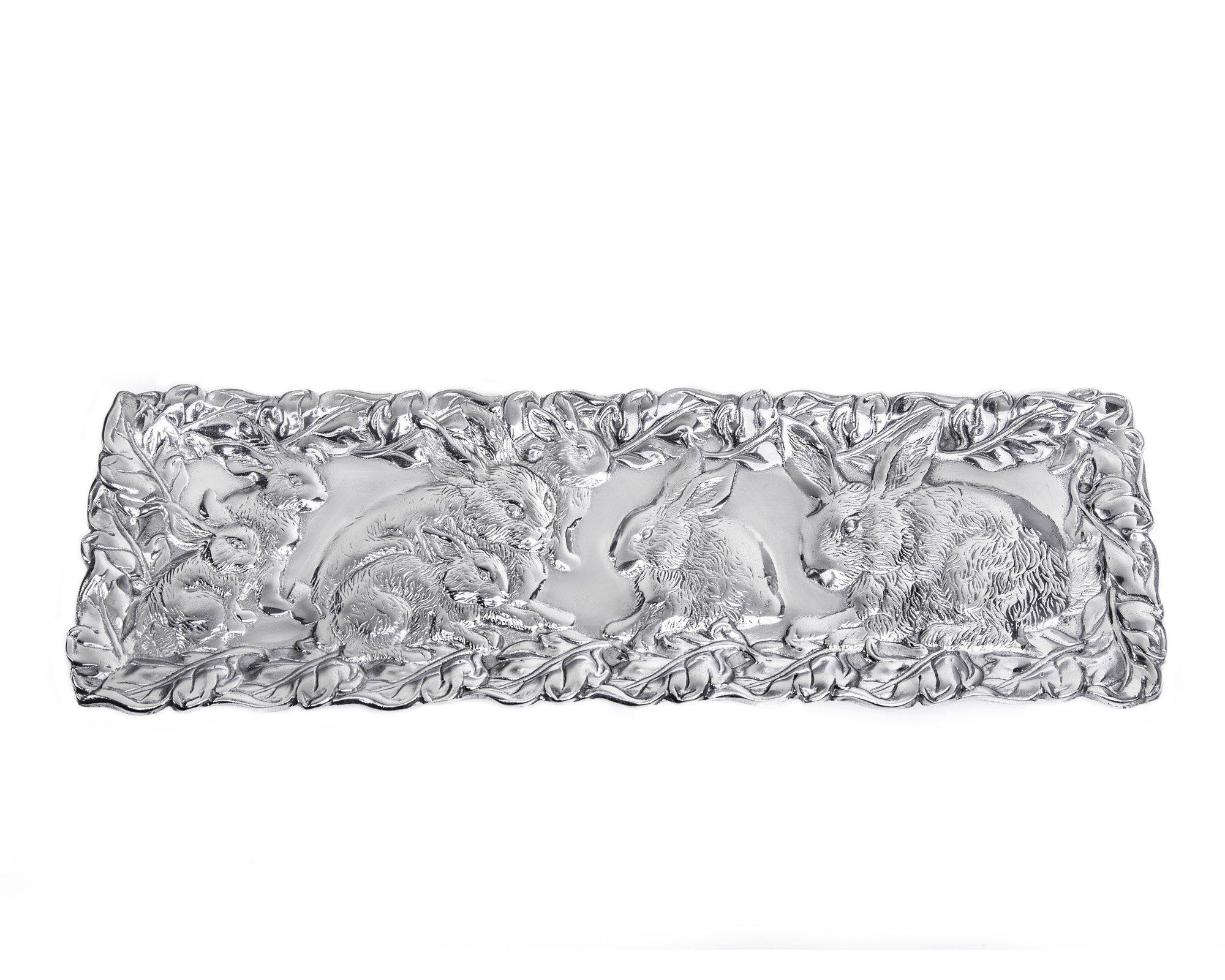 Arthur Court Designs Aluminum 19'' x 6''Bunny Oblong Tray