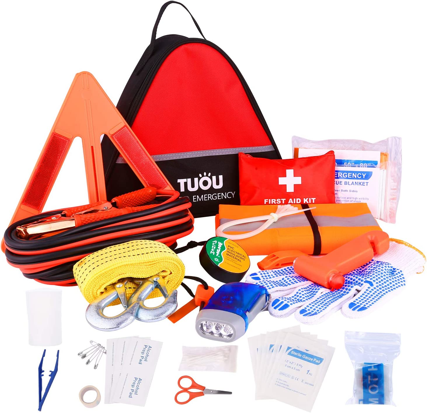 TUOU Auto Emergency Kit Frist Aid Kit for Cars and Trucks,All-in-One Roadside Assistance Auto Survival Kit Safety Kit -16.4 Feet Jumper Cable, Reflective Triangle,Tow Rope and Vehicle Survival Tools