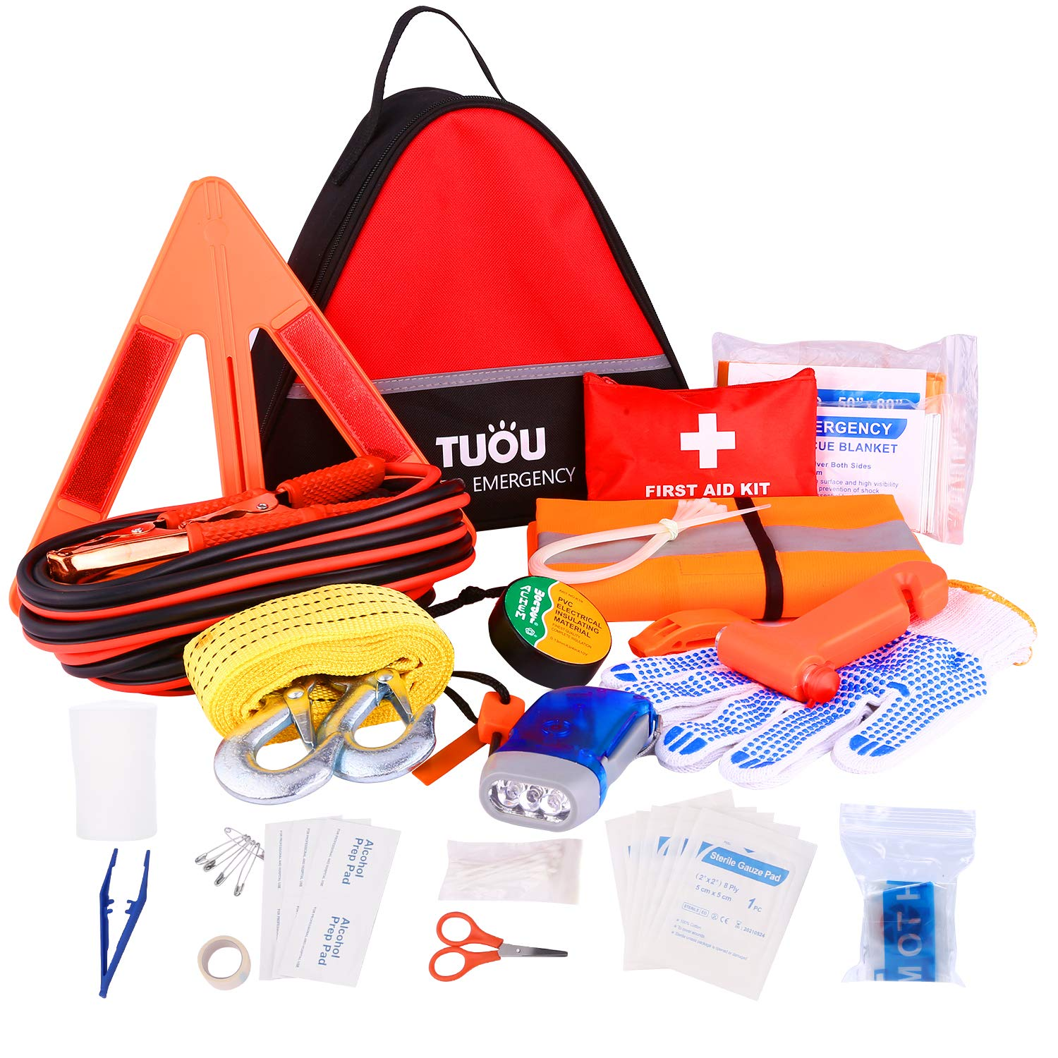 TUOU Auto Emergency Kit for Cars and Trucks First Aid Kit, All-in-One Triangle Carry Bag Roadside Assistance, Contains 16.4 Feet Jumper Cable, Reflective Triangle, Tow Rope and Vehicle Survival Tools