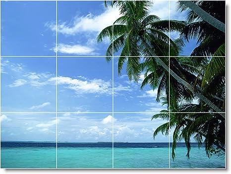 Scena spiaggia bagno piastrelle mural b cm con