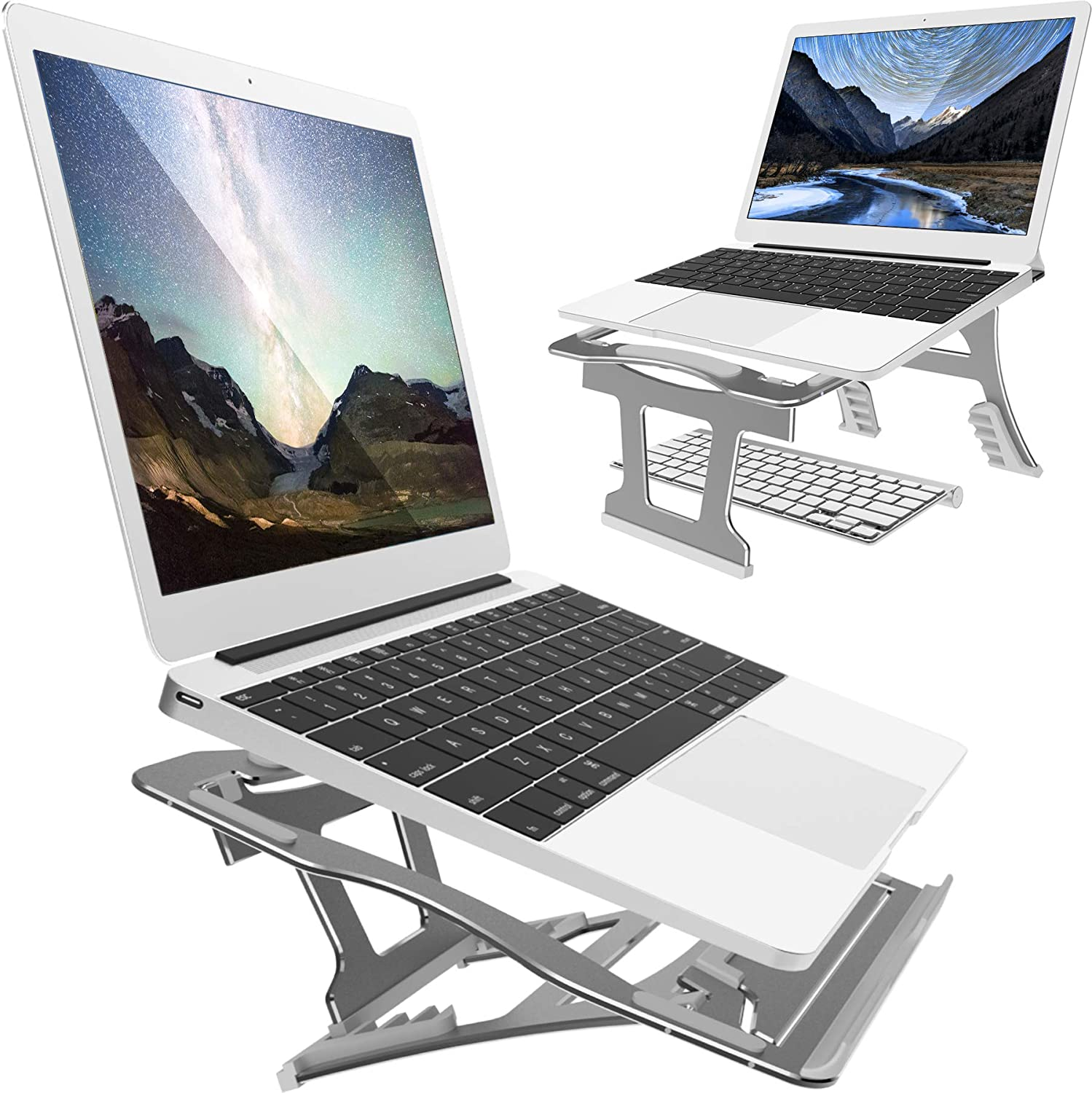 2 In 1 Adjustable Laptop Stand, 9 Angles, 3 Folding Modes. Portable Ergonomic Angled Laptop Aluminum Stand. Adjustable Height Laptop Holder with Slide-Proof Silicone for Laptop 10''~15.6''(Space Gray)
