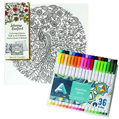 Johanna Basford Secret Garden Peacock Color 12 X Canvas With FREE Art Alternatives