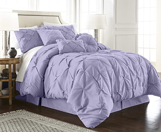 Chezmoi Collection Sydney 7-Piece Gray Pinch Pleat Pintuck Style Comforter Set