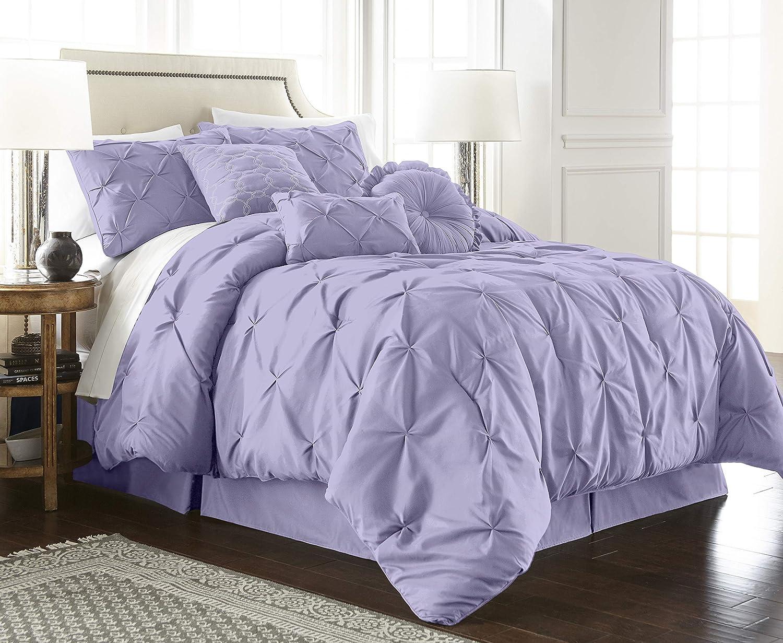 Chezmoi Collection Sydney 7-Piece Pintuck Bedding Comforter Set (Queen, Lavender)