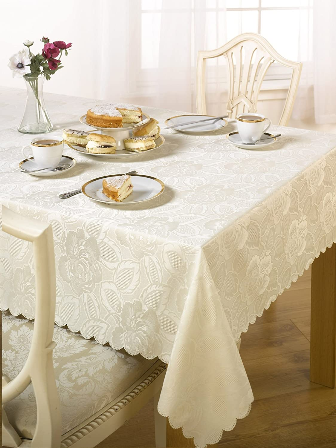 Luxury Damask Rose Tablecloth Cream 70x108 Inch Large Dining Room Table Linen Amazon Co Uk Kitchen Home