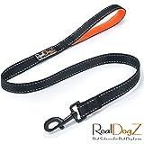 Kurze Hundeleine für mittlere, kräftige und mittel-große Hunde | Schwarze, reflektierende Nylon Führleine | Gepolsterte orange Neopren Handschlaufe | Kurzführer, Kurz-leine, Trainingsleine, Übungsleine