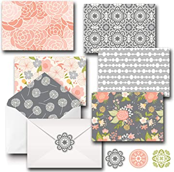 Assorted Floral Card Set Frameable Blank Greeting Cards with Envelopes
