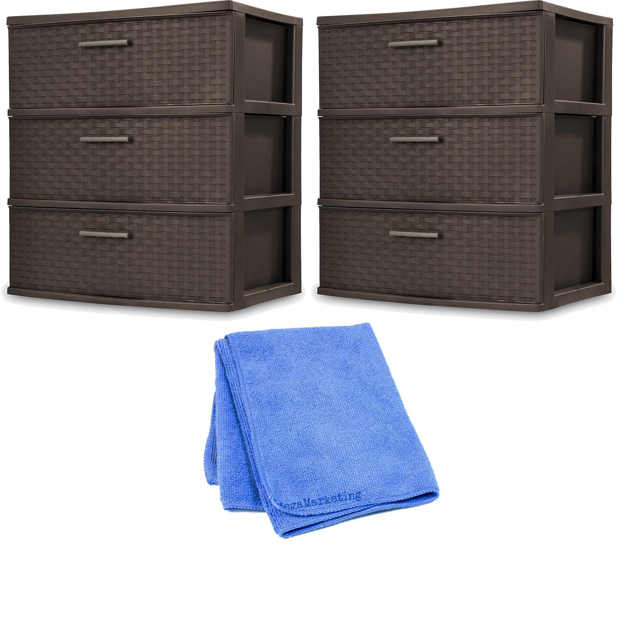 Sterilite 25306P01 3 Drawer Wide Weave Tower, Espresso Frame & Drawers w/ Driftwood Handles, 2-Pack with Cloth Cleaner