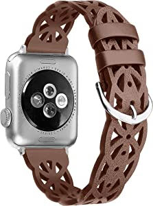 Secbolt Hollowed-Out Leather Band Compatible with Apple i Watch Bands 38mm 40mm iWatch Series 6/5/4/3/2/1, Elegant Top-grain Leather Wristband Strap Accessories for Women, Brown
