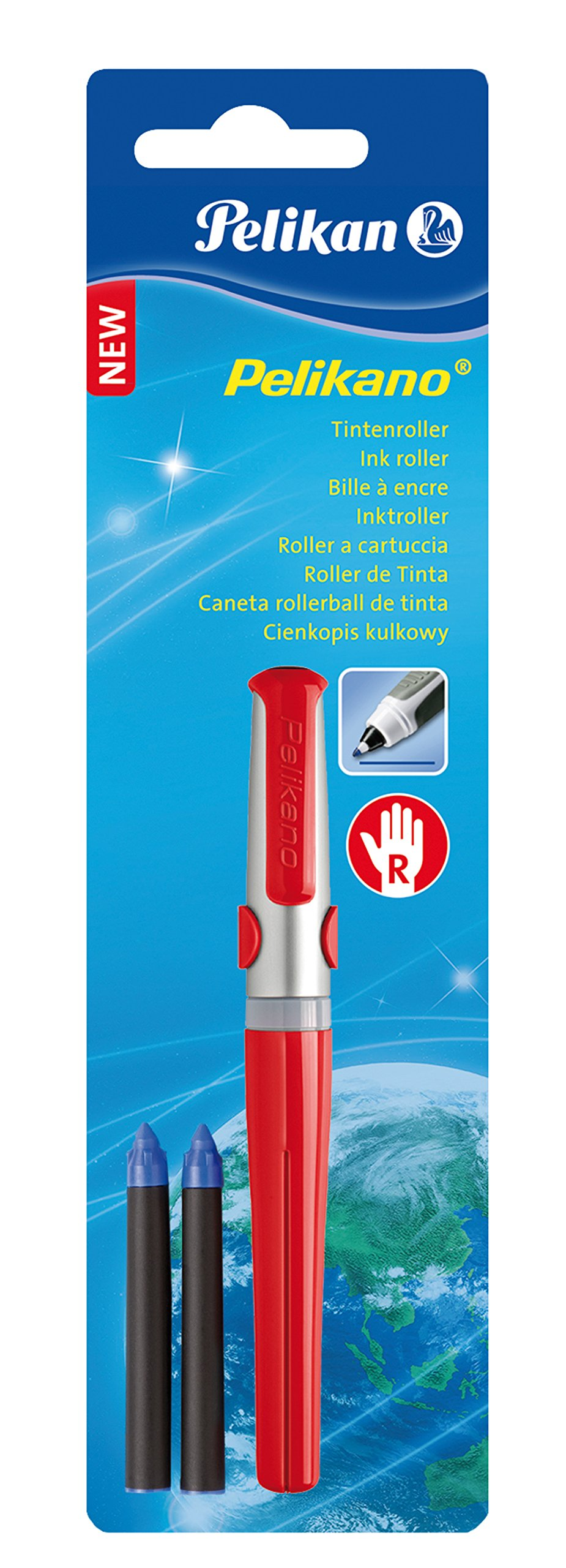 Pelikano R481 Rollerball Pen for Left-Handers with 2 Blue KM/5 Ink Cartridges Red