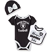 NFL Oakland Children Girls Bodysuit, Bib & Cap Set, 3-6 Months, Raiders