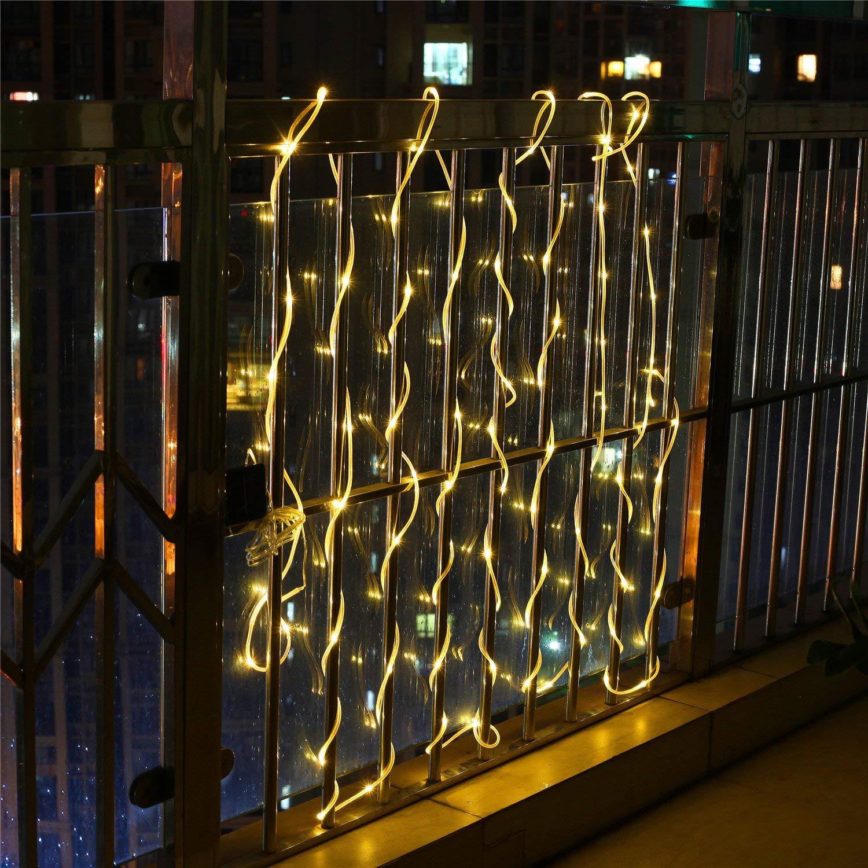 Solar String Lights 12M 100 LED Waterproof IP65 Solar Fairy Lights Outdoor Decoration for Christmas Party Garden Patio Gate Yard Holiday Wedding Samoleus Solar Rope Lights White