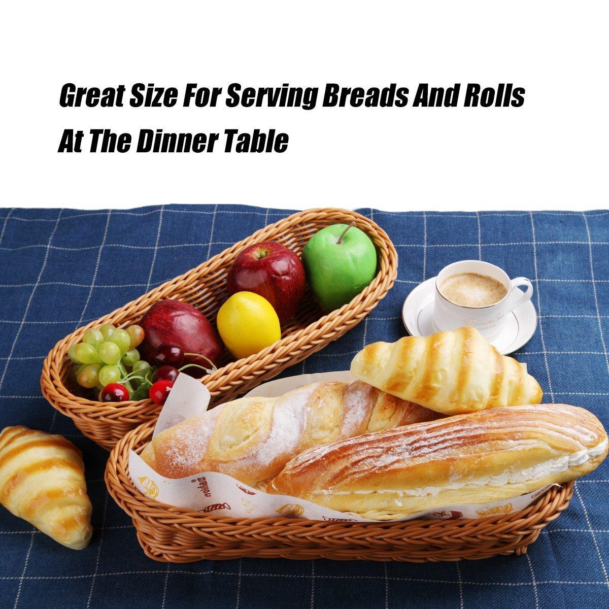 2 Set 14.5'' Poly-Wicker Bread Basket, Long Woven Tabletop Food Serving Basket, Honey Brown - Set of 2 by Make it fun (Image #6)