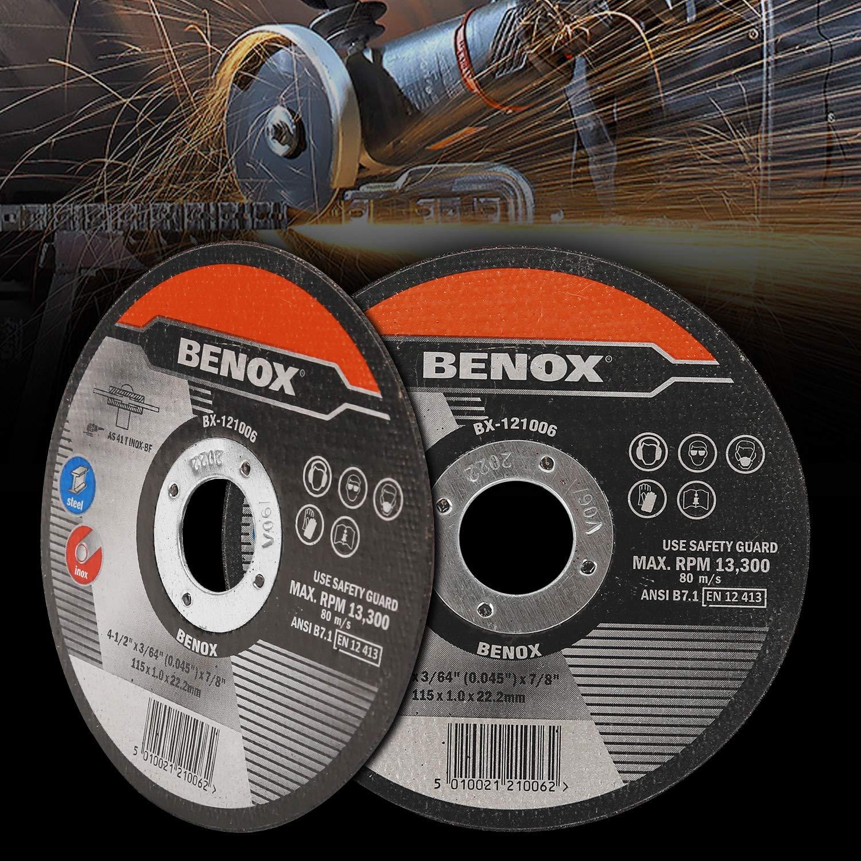 3//64 x 7//8 In Metal Cutting Disc BX-121006 400 BENOX 50-Pcs Pack 4-1//2 In Cut-Off Wheel 4-1//2 x 0.045