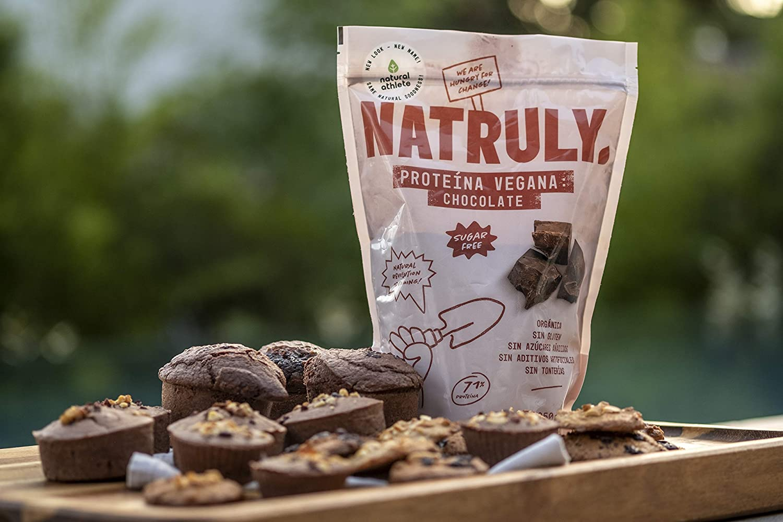 NATRULY Proteína Vegana BIO Chocolate, 81% Proteína, 100% Natural Sin Azúcar, Sin Gluten, Sin Lactosa -350g (antes Natural Athlete)