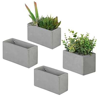 MyGift Modern Cement Wall Hanging Succulent & Herb Planter Boxes, Set of 4: Garden & Outdoor