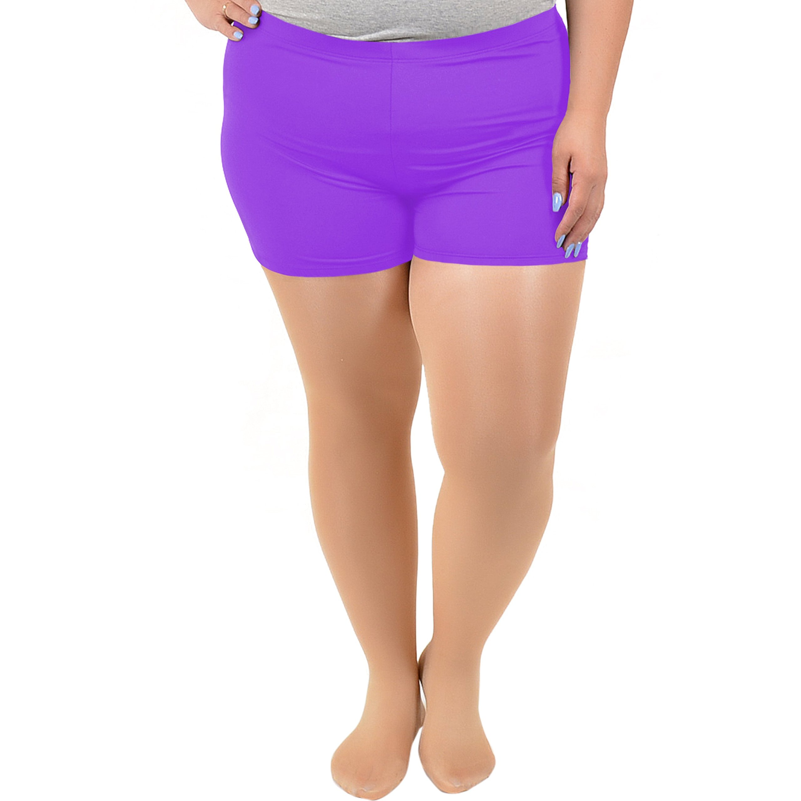 Stretch is Comfort Women's NYLON SPANDEX Stretch Booty Shorts Purple 3X