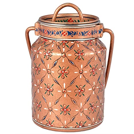 Kaushalam Hand Painted Cookie Jar Canister Bucket Kitchen Storage & Containers at amazon