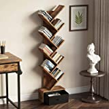 Rolanstar Tree Bookshelf with Drawer, 8 Shelf Rustic Brown Bookcase, Retro Wood Storage Rack for CDs/Movies/Books, Utility Or