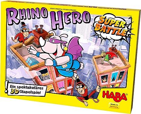 HABA 302808 - Juego de construcción Rhino Hero - Super Battle: Frisco, Scott, Strumpf, Steven, Schwarz, Thies: Amazon.es: Juguetes y juegos
