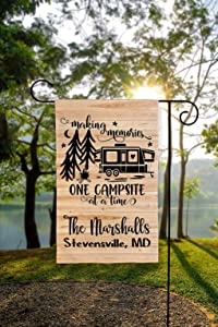 UTF4C Personalized Camping Flag, Garden Flag, Camping Flag, Camper Flag, Campsite Flag, Happy Campers Flag, Camping Garden Decal, Tent Camper RV or Pop-Up