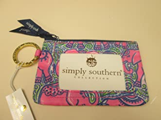 36a51039 Simply Southern Zippered ID Case with Key Ring/Elephant